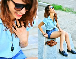 Fana L - Bata Blue Oxford, Meli Melo Necklace, Meli Melo Ring, God Knows! It Was A Gift :) Copper Bracelet, Carrera Square Glases - Summer power