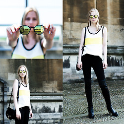 Lydia K - Vintage Mirrored Shades, Zara Top, Zara Bag, Topshop Boots, H&M Rings - Out and About in Cambridge