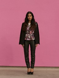 Savvy Javvy - H&M Floral Peplum Top, Zara Faux Leather Pants High Waisted, Steve Madden Black Leather Pumps - Where Pink Meets Leather