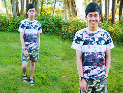 Joseff Lopez (Seffinisto) - Givenchy Camouflage Printed Roses Shirt, Birkentstock Black Strappy Sandals - Roses Blossom