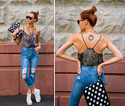Lidia ♫♪♫ - Zerouv Sunglasses, Sheinside Jeans, Choies Sneakers, Hickies Shoelaces, Choies Clutch - Ripped