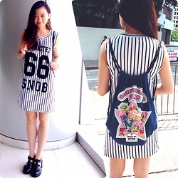 Veronica W. - Stylelanda Loose Dress, Boohoo Jelly Sandals, Taobao Tote Bag - Pretending to be a korean