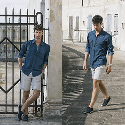 Alberto Mason - Pull & Bear Shirt, Pull & Bear Shorts, Zara Loafers, Daniel Wellington Watch - Deep blue