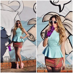 Jéssica Oliveira - Iorane Blusa, Bobstore Skirt, Colcci Shoes - Candy Color