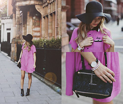 Sonya Esman - Lazy Oaf Dress, Givenchy Pandora, Daniel Wellington Watch, Asos Heeled Booties, Topshop Floppy Hat - Lazy.