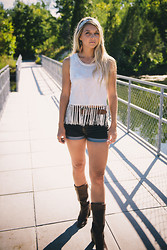 Briana Boyko - Dancewear Solutions Beaded Headband, No Rest For Bridget White Embroidered Midi Top With Fringe, No Rest For Bridget Dark Wash Highwasted Denim Shorts, Michael Kors Brown Leather Boots - Eight | Four | Fourteen