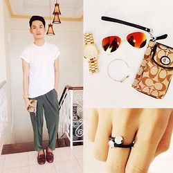 Rhonnel Tan Santos - Coach Purse, Michael Kors Watch, Topman Tee, Zara Trousers, Cole Haan Shoes - 080514