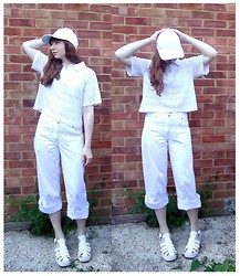 Emily May - H&M White Baseball Cap, Urban Outfitters Flower Detail Blouse, M&Co White Trousers, New Look White Chunky Sandals - All White