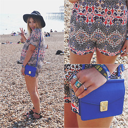 Lily Melrose - Zara Little Blue Bag, Topshop Printed Tiled Shorts, Topshop Printed Tiled Tshirt, Topshop Fedora - Brighton beach front