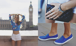 Sonya Esman - Topshop Slipons, Chanel Bag, White Denim Shorts, Lazy Oaf Cropped Sweater - Hi, London.