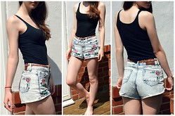 Nina JC - Acid Reign Wash Denim Rose Short, Divided Black Tank Top - Summer Staple: Love Clothing Shorts
