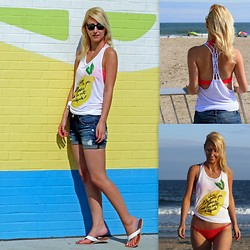 Megan Knight - Dynamite Denim Shorts, Dynamite Graphic Tank, Victoria's Secret Bikini - When Life Gives You Lemons, Ask For Salt & Tequila