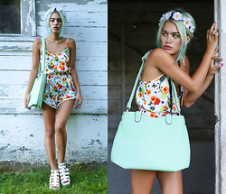 Alanna Durkovich - Girl Is Gun Romper, Girl Is Gun Floral Headband, La Moda Handbag, La Moda Chunky Sandals - Girl is Gun