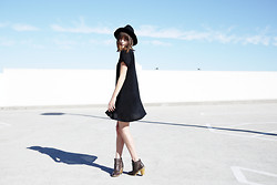 Rima Vaidila - The Fifth Label Black Swing Tee Dress, The Fifth Label Black Wool Hat, Hudson Ankle Booties - Witchery