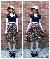 Emily May - Monsoon Straw Sun Hat, Topshop Black Cropped Tee, Primark Ethnic Print Culottes, New Look Black Chunky Sandals - Country Culottes