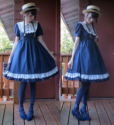 Danielle E. - Claire's Straw Boater Hat, Lolita Show Navy Blue Onepiece, Metamorphose Sailor Dot Socks, Modcloth Navy Velour Heels - Come Sail Away