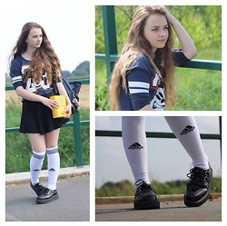 Nicole T. - T.U.K. Creepers, Adidas Kneehigh Socks, H&M Skirt - Sporty Schoolgirl