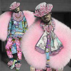 Andre Judd - Pink Mandala Neckboard, Lotus Flower Pink Crystals, Map Scarf, Map Print Sweater, Boater Hat, Pink Faux Fur - FURSCAPE