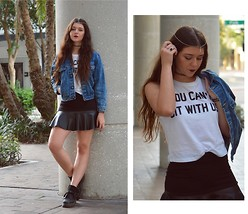 Marissa Jennings - Ross Mean Girls Tee, Hot Topic Moon Head Chain, Drifter Denim Jacket, H&M Leather Panel Skirt, Dr. Martens Flatform, H&M Frill Socks - YOU CAN'T SIT WITH US