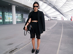 Rachel Eng - Asos Cropped Jumper, Perforated Long Shorts, Longline Blazer - The Hub
