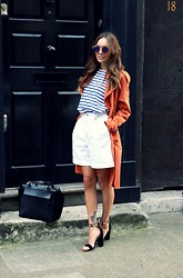 Vee Vee - Zara Breton Stripe Top, Miss Selfridge Tangerine Duster Coat, Rokit Vintage White Culottes, Public Desire Barely There Heels, Daniel Footwear Minimal Black Box Tote, & Other Stories Round Mirrored Sunglasses - Culottes of love