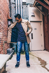Reformingrefined - Topman Trench Coat, Topman Pin Striped Shirt, Nudie Jeans Grim Tim Denim, Overall Mastercloth Chukka Boots - Trenched Out