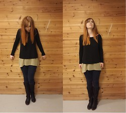 Frida kristine - H&M Sweater, Carlings Top, Do Not Remember Boots, Cubus Jeans - Wall