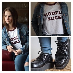 Nicole T. - T.U.K. Creepers, Asos Top, Asos Jeans - Denim All Over