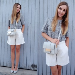 Clean Couture Lu - H&M Sweater, Buffalo Heels, H&M Bermudas, H&M Bag - Ornamental grey