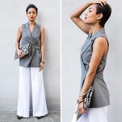 Micah Gianneli - Chloé Wide Leg Pants - Shades of Grey