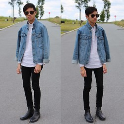 Jordan L - Cheap Monday Jacket, H&M Shirt, H&M Jeans, Zara Boots, Vintage Sunglasses - Denim Jacket.