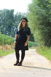 Kimberley Sacré - Urban Outfitters Dark Blue Skater Dress, Dr. Martens Cherry Red, H&M Black Hat - I see black light