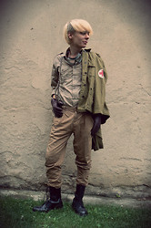 Kira Saku - Armyshop Vintage Military Jacket For Medic, Thrifted Khaki Shirt, Thrifted Beige Pants, Armyshop Vintage Goggles, New Yorker Suspenders, New Yorker Gloves, Pure Trash Black Boots - Scars Like Velvet