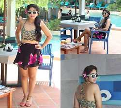 Surbhi Suri - Forever 21 Bralet Top, Phuket Wrap Skirt, H&M Mint Sunglasses, Zara Neon Sandals - Floral On Folral