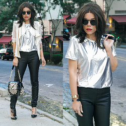 Priscila Diniz - T Shirt, Jacket, Pants, Shoes, Bag - In silver