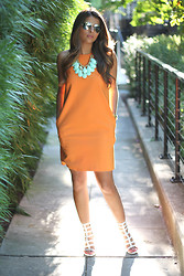 Pam Hetlinger - Zara Dress, Michael Kors Sunglases, Forever 21 Neckalce, Stuart Weitzman Sandals - Orange Crush