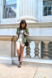 Carolina Hellal - H&M Military Jacket, Mango Stripe Top, Chic Talk Crochet Shorts, Love Culture Messenger Bag, Antonio Melani Lace Up Heels - Olive green and crochet