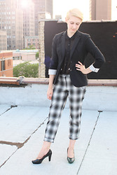 Emmy Geraghty - Banana Republic Blazer, H&M Plaid Trousers, H&M Black Heels, H&M Sheer Blouse - Mad About Plaid