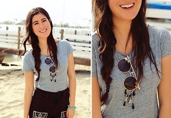 Ashley Overbeek - Thrifted Shirt, Urban Outfitters Sunnies, Anthropologie Necklace, Bdg Jeans - Spring Break Blues