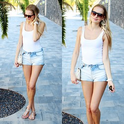 Madara L - H&M White Basic Top, Bershka Light Blue Denim Shorts - Basic summer style