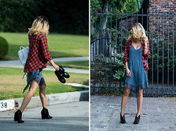 Karen Lee - Free People Plaid Shirt, Free People Slipdress, Jeffrey Campbell Booties, Proenza Schouler Backpack - Mixed signals