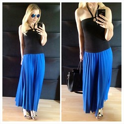 Gabriella B - Mango Black Halterneck Top, Primark Blue Pleated Jersey Maxi Skirt, River Island Gold Embellished Leather Sandals - THE BIG CHILL