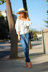 Pam Hetlinger - Forever 21 Hat, Lulu's Off The Shoulder Striped Top, Zara Jeans, Chanel Handbag, Baublebar Necklace - Off-the-shoulder striped top