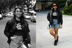 Jia Achacruz - Alexander Mcqueen Leather Bomber Jacket, Michael Kors Two Toned Selma Bag, Vintage Gold Cheetah Belt, Le Specs Cat Eye Tortoise Shell Sunnies, Dr. Martens Boots - Dr. Martens Diaries: FLORA AND FAUNA