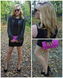 The BlogGirls -  - Black dress and leather jacket with a pop of color