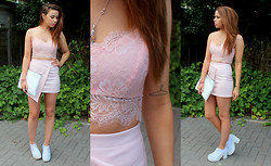 Jessica Sheppard - Celeb Look Eyelash Lace Bralet, In The Style Pvc Wrap Skirt, Zara Stressed Clutch, Truffle Chunky Heels - PASTEL EYELASHES