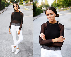 Malin E. - Bikbok Top, H&M Top, Weekday Jeans, Nike Shoes - Whitewhitewhite