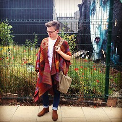 Paul O' Farrell - Zara Poncho, Primark Plain White Tee, Etsy Canvas Satchel, Topman Indigo Skinny Jeans, Clarks Brown Boots, Assorted Rings - Summer festival look 16/08/14
