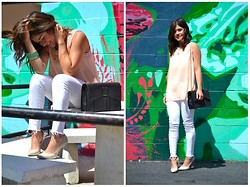 Carolina Hellal - Love Culture Peach Top, Levi's® White Jeans, Bcbg Pointy Heels, Zac Posen Black Bag - FLAWLESS WHITE