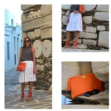 Nina Papaioannou TRENDSURVIVOR - Lanvin Espadrilles, Gigi New York Clutch - Orange Pop